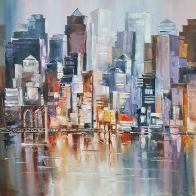 Картина маслом городской пейзаж Нью-Йорк «Ритм вечернего Нью-Йорка» живопись для современных интерьеров