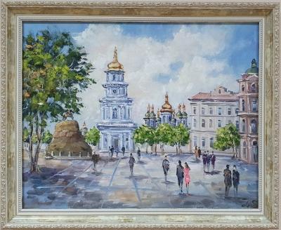 Картина маслом пейзаж «Виды Киева. София» купить живопись для современных интерьеров