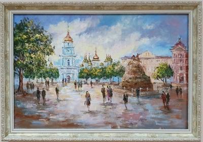 Картина маслом пейзаж Киева «Виды Киева. Вечерний»купить живопись для современных интерьеров