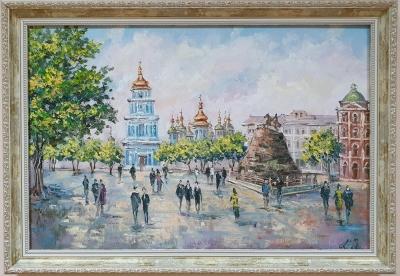 Картина маслом городской пейзаж «Виды Киева. Софиевская площадь» купить современную живопись Украина