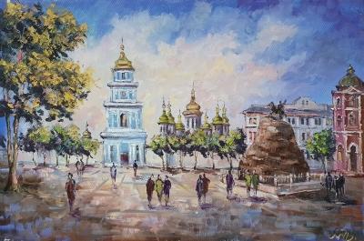 Картина киевский пейзаж «Виды Киева. Вечерняя София» купить живопись Украина
