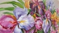 Картина цветы «Ирисы - нежность в каждом лепестке» купить картину маслом в Киеве