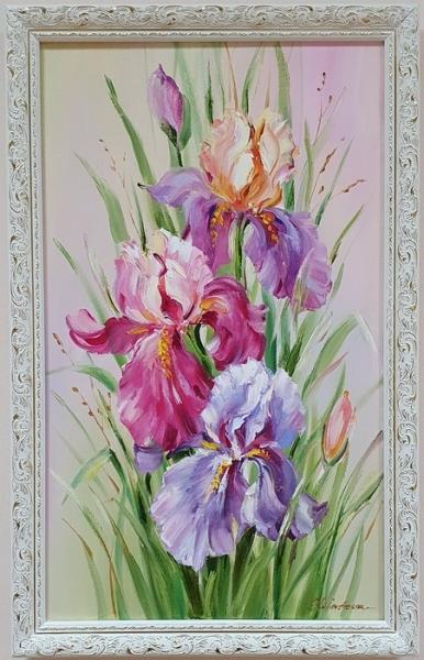 Картина цветы «Ирисы. Взрыв красок» купить картину маслом Киев