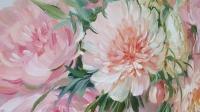 Картина цветы «Розовые пионы - нежность в каждом лепестке» купить современную живопись Киев
