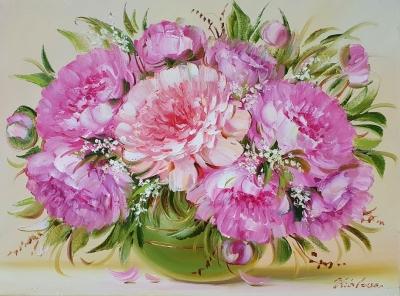 Картина маслом цветы пионы «Пышность пионов» купить картину Киев