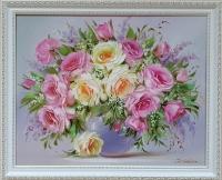 Картина цветы «Розовые розы» купить современную живопись Украина