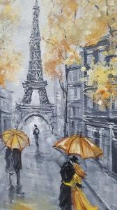 Картина маслом Париж «Теплый Париж» купить картину Украина