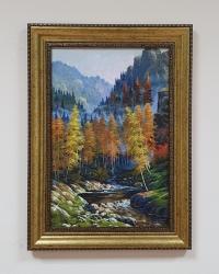 Картина маслом горный осенний пейзаж «Осень в горах» купить живопись Киев