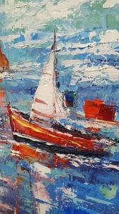 Картина морской пейзаж «По волнам» купить живопись для детской комнаты Киев