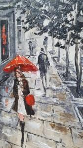 Картина маслом городской пейзаж «Парижанка» купить живопись Украина