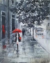 Картина маслом пейзаж «Парижанка» купить живопись Украина