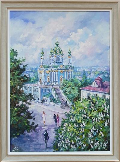 Картина маслом городской пейзаж Киева «Виды Киева. Андреевская церковь» купить живопись маслом
