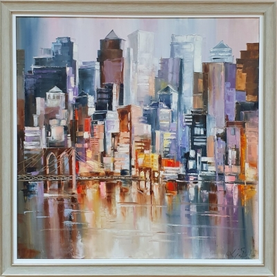 Картина маслом городской пейзаж «Ритм вечернего Нью-Йорка» купить живопись абстракция