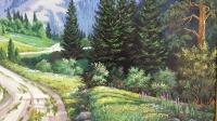 Картина маслом горный пейзаж «Родные просторы» купить живопись Украина