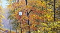 Картина маслом осенний пейзаж «Осенний парк» купить живопись Украина