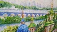Картина маслом киевский пейзаж «Виды Киева. Выдубицкий монастырь» купить живопись Украина