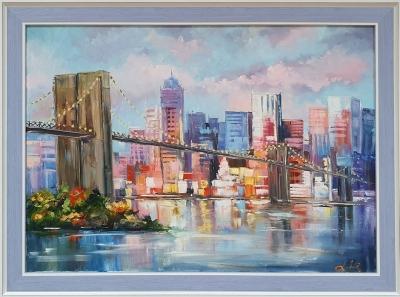 Картина маслом городской пейзаж «Бруклинский мост» купить живопись Украина