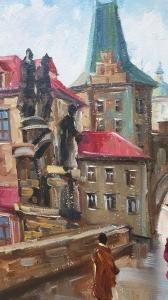 Картина маслом городской пейзаж Прага «Вечерняя Прага» купить живопись Украина