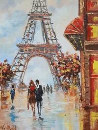 Картина маслом городской пейзаж Париж «Вечерний Париж для нас двоих» купить живопись Украина