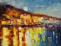 Картина маслом городской пейзаж «Осенние огни над Днепром» купить живопись Украина