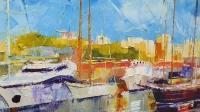 Картина маслом морской пейзаж «Лодки» купить живопись Украина