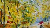 Картина маслом пейзаж «Осень в парке» купить живопись для современных интерьеров Украина