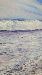 Картина маслом море пейзаж «Лиловый закат» купить современную живопись Украина