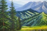 Картина маслом «Величие горной тишины» купить живопись летний пейзаж Украина