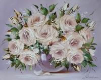 Картина цветы розы «Нежный букет роз» купить современную живопись Украина