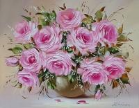 Картина цветы розы «Букет нежных роз» купить современную живопись Украина