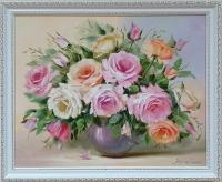 Картина цветы розы «Благоухание нежных роз» купить современную живопись Украина