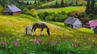 Картина маслом горный пейзаж «Горный пейзаж. Родные просторы» купить картину Киев