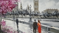 Картина маслом городской пейзаж «Теплый Лондон» купить живопись Украина