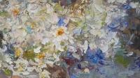 Картина маслом цветы ромашки «Абрикосы» купить живопись Украина