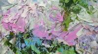 Абстрактная картина розы «Ветка чайной розы» купить картину маслом Киев