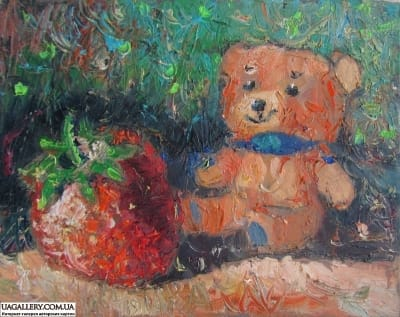 Картина «Мишка и клубничка»