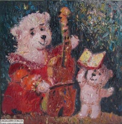 Картина «Мишки. Музицирование»