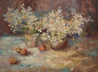 Картина абстракция цветы «Абрикосы»