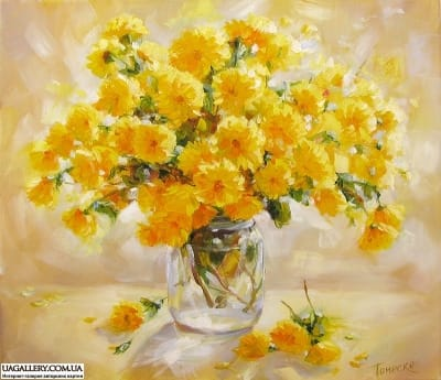 Картина «Желтые хризантемы»