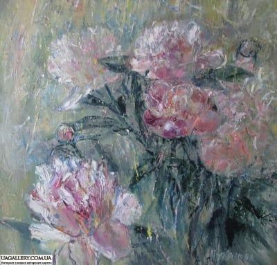 Картина «Нежное цветение пионов»