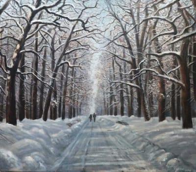 Картина пейзаж «Зимняя аллея» купить живопись Украина