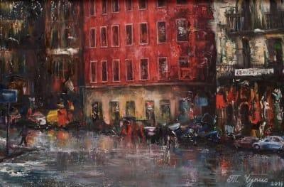 Картина «Дождливый вечер» купить живопись Украина
