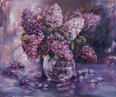 Картина цветы «Букет сирени» купить картину маслом Украина