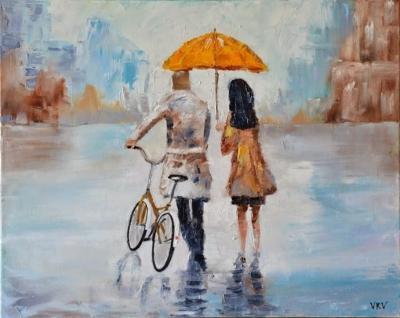 Картина «Трое под зонтом»