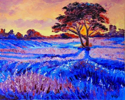Картина «Закат в поле лаванды»
