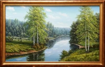Картина «Летний пейзаж. Вид на реку»