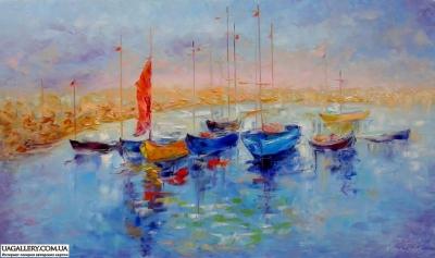 Картина «Лодки у пристани»