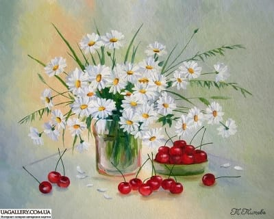 Картина «Ромашки и вишни»