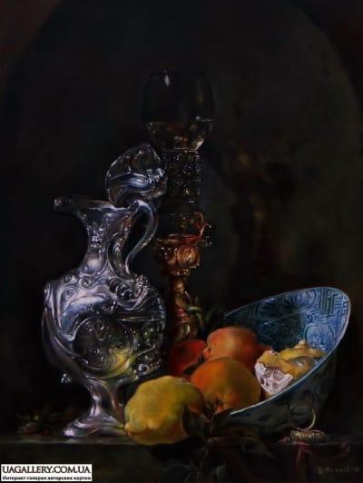 Картина «Натюрморт с серебряным кувшином» копия Виллема ван Алста