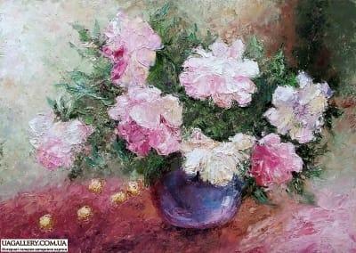 Живопись маслом цветы пионы «Пионы и сладкая черешня» 1 картина